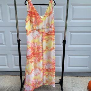 Lane Bryant slit front sunset floral maxi dress